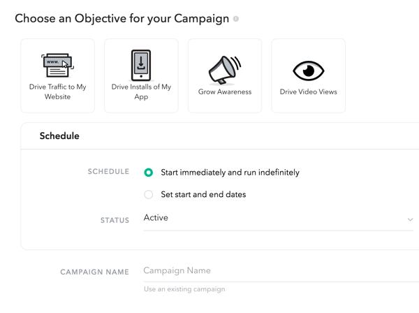 Choisissez un objectif et un calendrier de campagne.