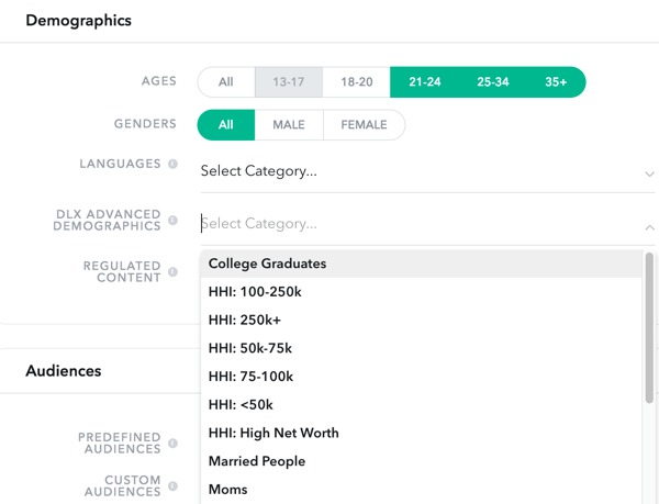 Specify the demographics of the Snapchat audience you're targeting.