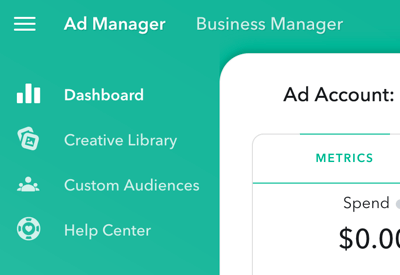Ad Manager has four main sections that you can access in the upper-left of the page.