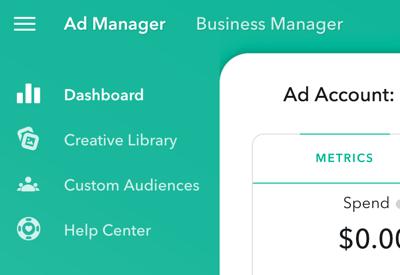 AdManager comporte quatre sections principales auxquelles vous pouvez accéder en haut à gauche de la page.
