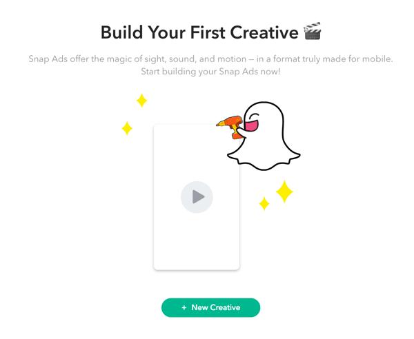 Cliquez sur + Nouvelle création pour configurer votre annonce Snapchat.