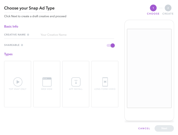 Ajoutez des informations de base pour votre création publicitaire et choisissez un type de publicité Snapchat.
