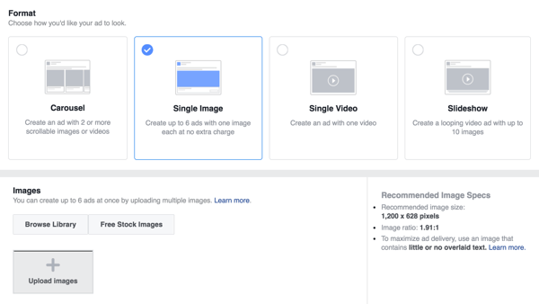Choose the ad format for your Facebook lead ad.