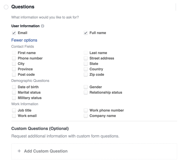 Select the information you'd like to include on your lead form.