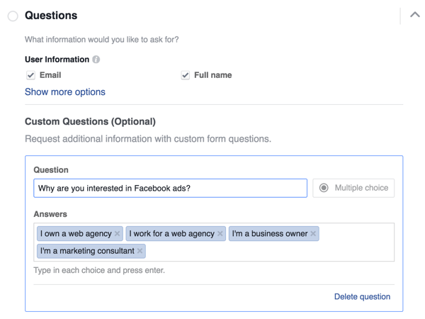 If you're adding a multiple-choice question to your lead form, type in the options that users can choose from.