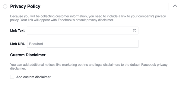 Add a link to your privacy policy.