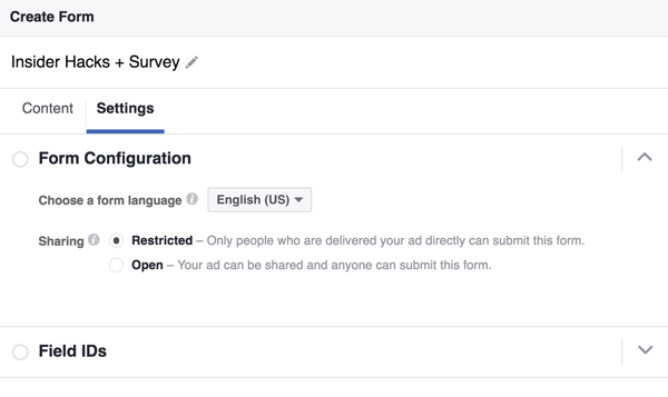 You can select a language for your Facebook lead form.