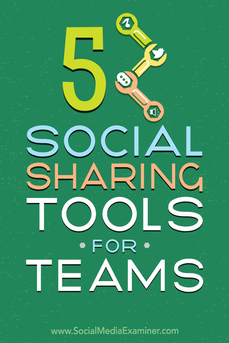5 Social Sharing Tools for Teams by Cynthia Johnson on Social Media Examiner.