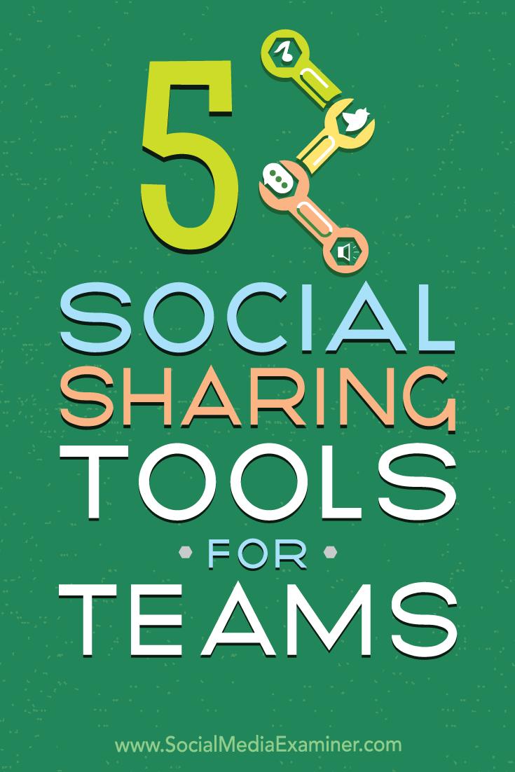 5 Social Sharing Tools for Teams by Cynthia Johnson on Social Media Examiner.