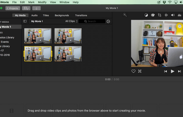 In iMovie, drag and drop your video clips from the browser to the timeline at the bottom.