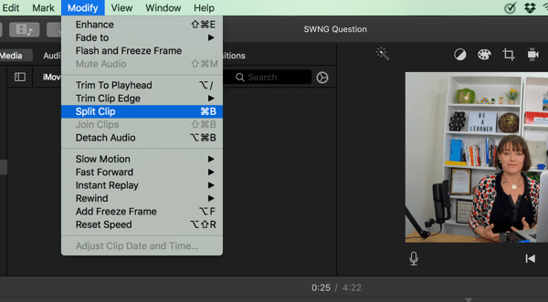 In iMovie, split your video into segments by selecting Modify > Split Clip.&#8221; width=&#8221;600&#8243; height=&#8221;331&#8243; /></p> <p class=