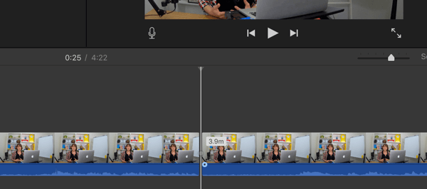 A solid line in your iMovie timeline indicates a split.