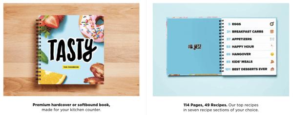 BuzzFeed-owned Tasty sells a custom cookbook.