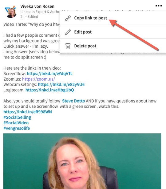 Copy the link to your video so you can share it on your profile, in your LinkedIn Publisher posts, and on other platforms.