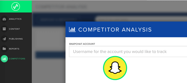 Add the Snapchat username of the competitor you want to track in Snaplytics.