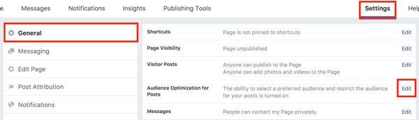 In your Facebook page settings, click the Edit button to the right of the Audience Optimization for Posts option.