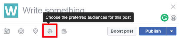 To see whether audience optimization is enabled for your Facebook page, look for the targeting icon when you create a new post.