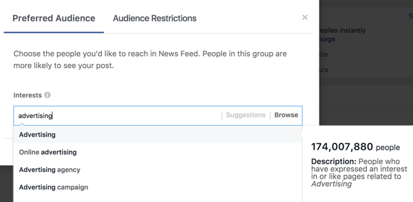 Once you type in an interest, Facebook will suggest additional interest tags for you.