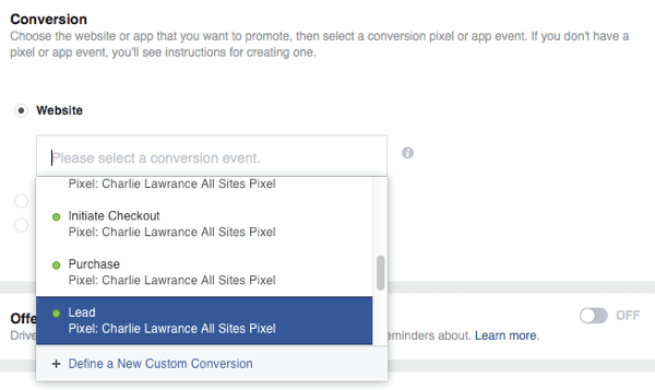Select the specific conversion event you installed on your lead magnet confirmation page.