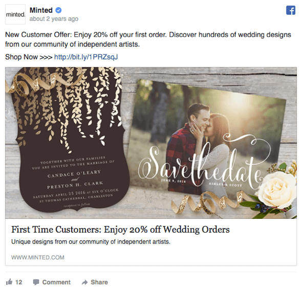 This direct-response Facebook ad offers a discount to first-time customers.