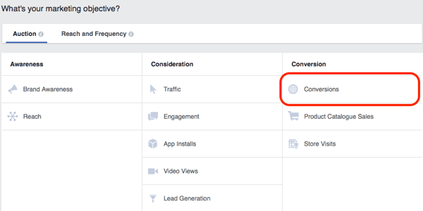 Use the Conversion objective for lead magnet campaigns.