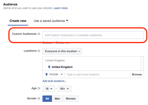 Select the customer list or website custom audience that contains your email subscribers.