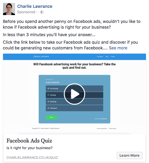 Use Facebook video ads to give users a preview of lead magnet content.