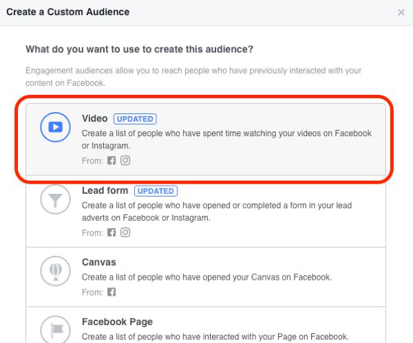 Build custom video audiences to use in the middle of your sales funnel.