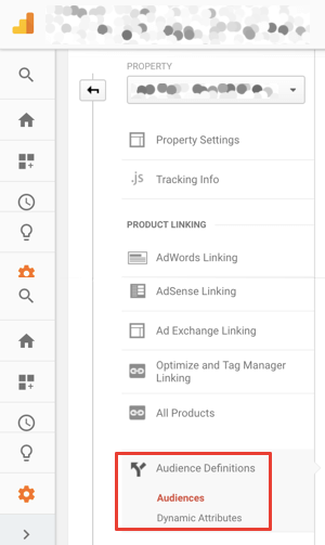 Create Smart Lists using the Admin section of Google Analytics.