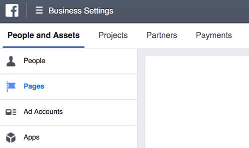 Select Pages on the People and Assets tab of your Business Settings.