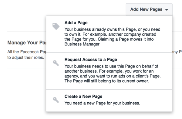 Choose the option to add a page to your Business Manager account.