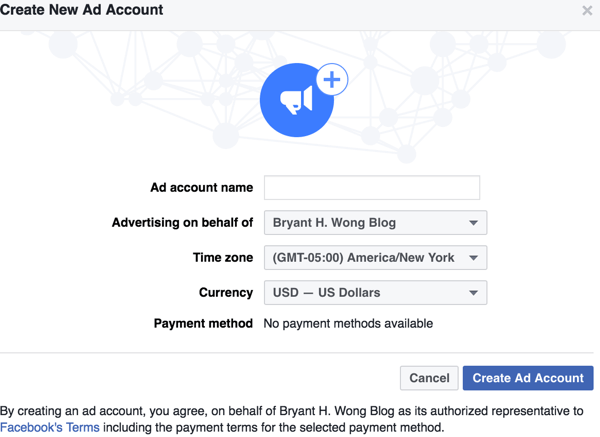 Fill in the details to set up your Facebook ad account.