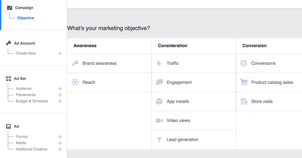 Select the objective for your Facebook campaign.