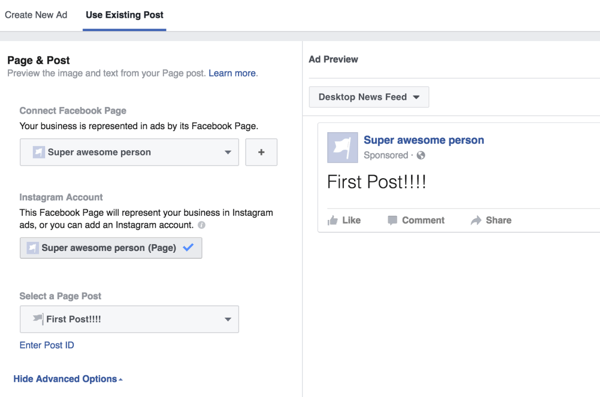 Select the post you want to boost on Facebook.