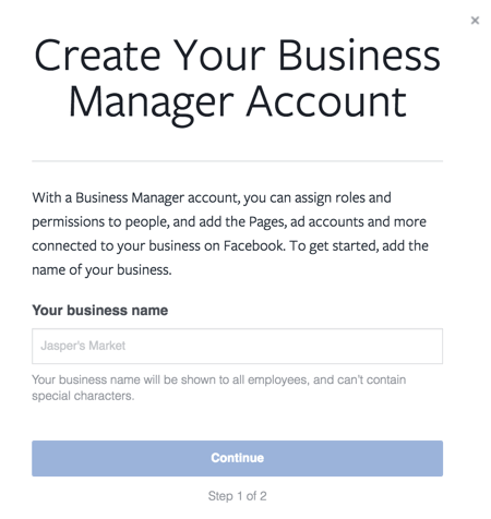 Enter your business name to set up your business account.