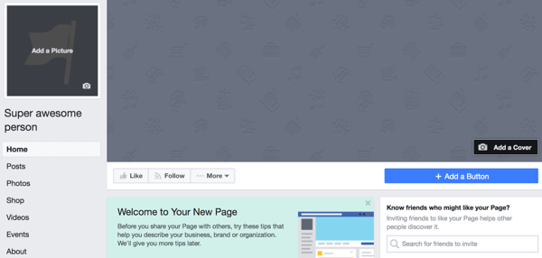 Your newly created public figure page will look like this.