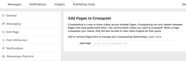 Enter the name of the page for which you want to set up a cross-posting relationship.