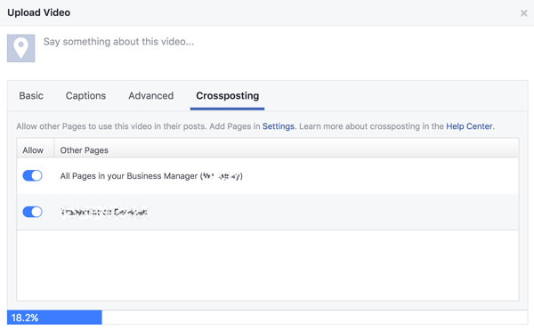 Select the Facebook pages you want to allow to cross-post your video.