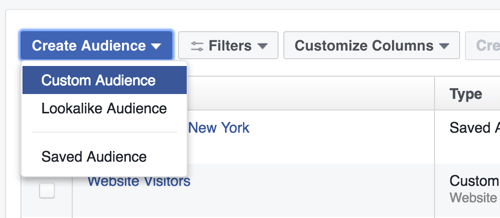 Go to the Audiences section and select the option to create a Facebook custom audience.