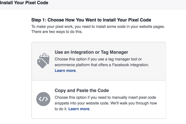 Choose which method you want to use to install the Facebook pixel.