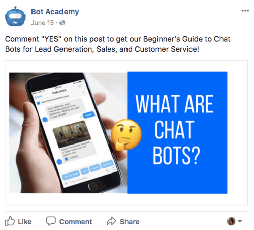 Offer a freebie to get people to subscribe to your chatbot.