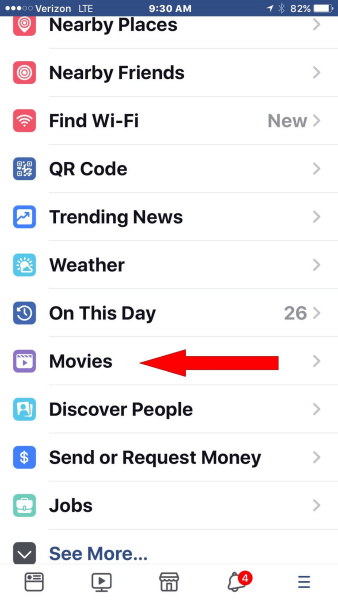 Facebook adds dedicated movies section to main navigation menu of the mobile app.