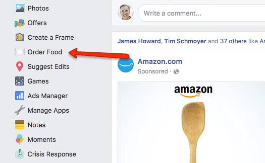 Facebook expands Order Food option in main navigation to more users.