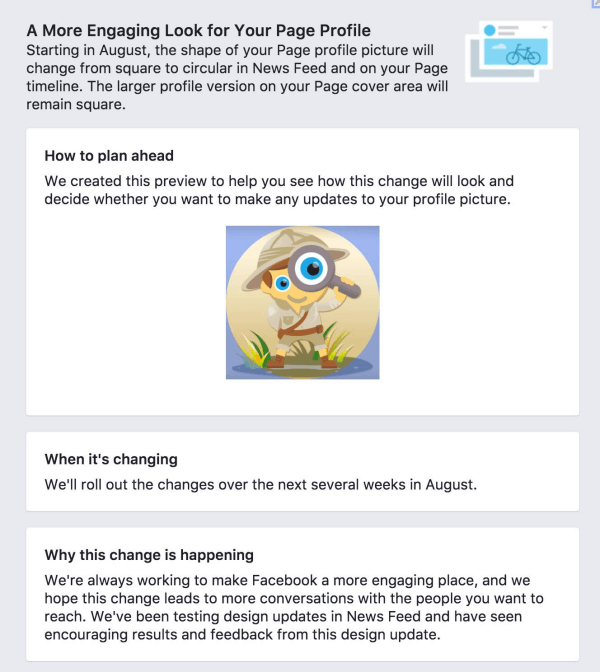 Facebook is changing Page profile photos from square to circular.