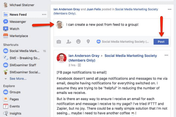 Facebook now allows users to post directly into Groups from the News Feed.