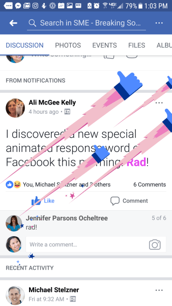 Facebook adds new interactive Rad greeting to posts and comments.