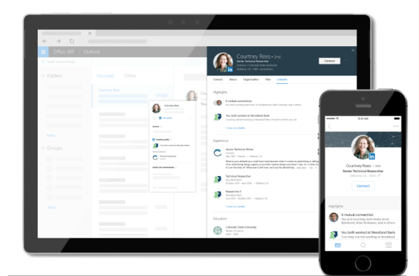 LinkedIn and Microsoft are bringing personalized LinkedIn insights directly into your Microsoft Office 365 experience by integrating LinkedIn and Microsoft Office profile cards.