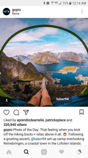 GoPro regrams content without a watermark but provides attribution to the original post creator.