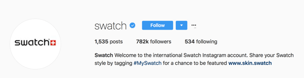 Swatch asks users to tag their posts with #MySwatch for a chance to be featured on their Instagram account.