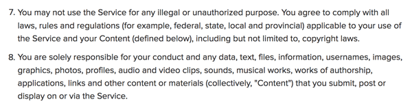 Instagram's TOS outline content responsibility.